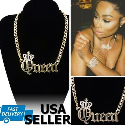Queen Crown Iced Out Hip Hop Chain Necklace Gold Celebrity Pendant Cuban Link