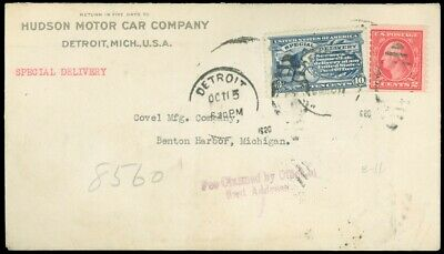 1920 Detroit, HUDSON MOTOR CAR CO. C/C to Benton Harbor, SPECIAL DELIVERY, #E11!