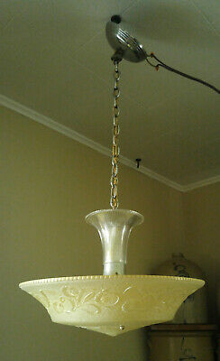 Vintage Art Deco 1930's Daisy Sunflower Glass Shade Chandelier Ceiling Fixture
