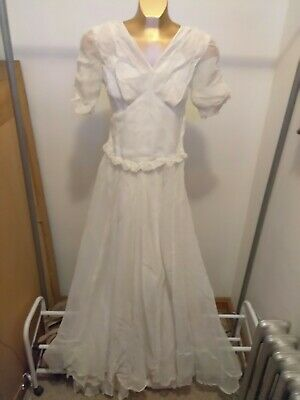 Antique Vintage 1920s-1930s Light Breezy Beachy Beach Boho Wedding Gown Small