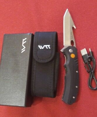 Folding Lighted Hunter Knife With USB Charger and Case