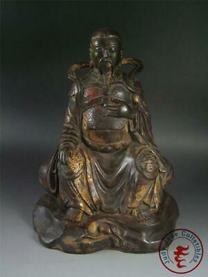 Very Large Old Chinese Gilt Bronze God of Fu (blessing) Statue Qing Dynasty