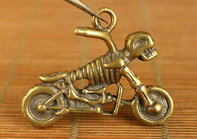 Asian old copper hand carving skull motorcycle statue figue netsuke pendant gift