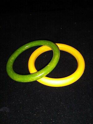 Pair of Vintage Bakelite  Bangle Bracelets Yellow & Green - Tested+