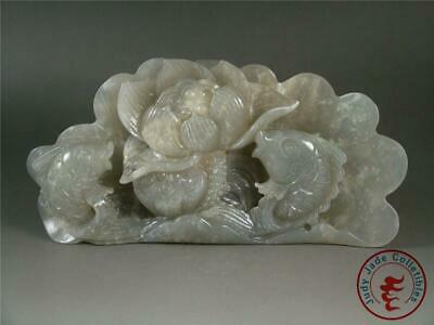 Antique Old Chinese Celadon Nephrite Jade Carved Statue DOUBLE FISH ~ AUSPICIOUS