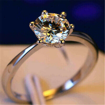 Fashion White Gold Filled 5 ct White Sapphire Claw Ring Gorgeous Rings Band #5-9
