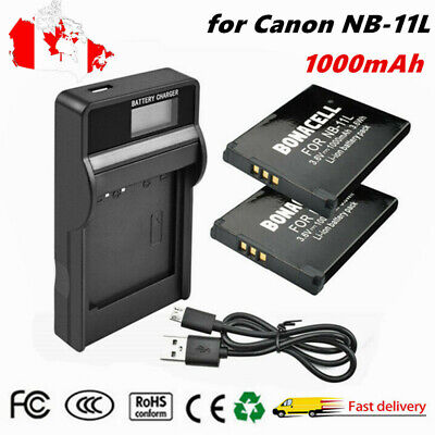 2× NB-11L Battery + LCD Charger for Canon NB-11L NB-11LH ELPH 110 115 PowerShot
