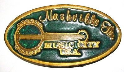True Vintage NASHVILLE TN MUSIC CITY USA GREEN BANJO Solid Metal Belt Buckle