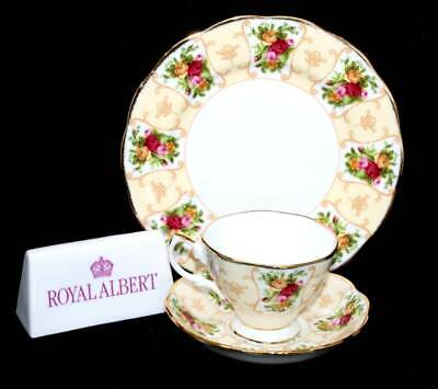 Royal Albert Rose Cameo Peach teacup trio set with larger size plate