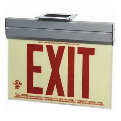 ZORO SELECT GRAN11407 Exit Sign,Photoluminescent,Red,Acrylic