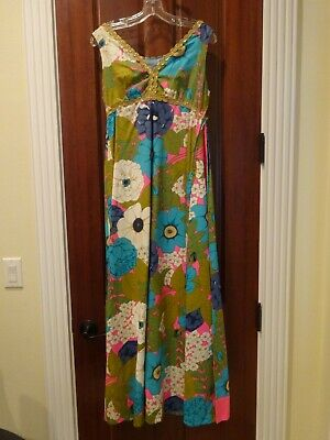 vintage 1970s mod floral party maxi dress w/ pink train & gold braid - Small