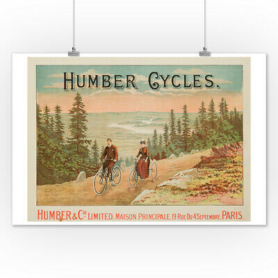 Humber Cycles England c. 1898 - Vintage Poster  (Posters, Wood & Metal Signs)