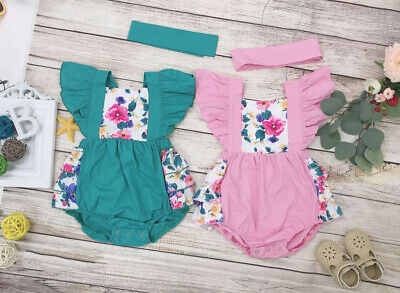 Newborn Baby Girl Floral Ruffle Romper Jumpsuit Bodysuit Headband Clothes Outfit