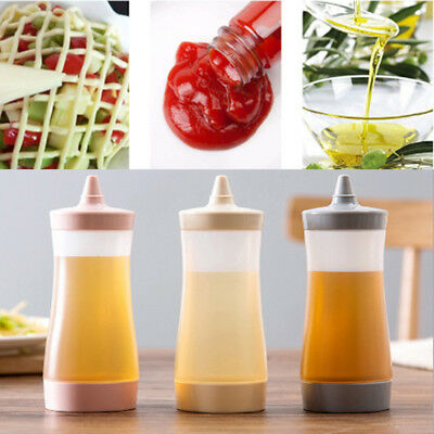 Clear Refillable Squeeze Sauce Bottle Ketchup Mustard Chef Oil Barbecue LS