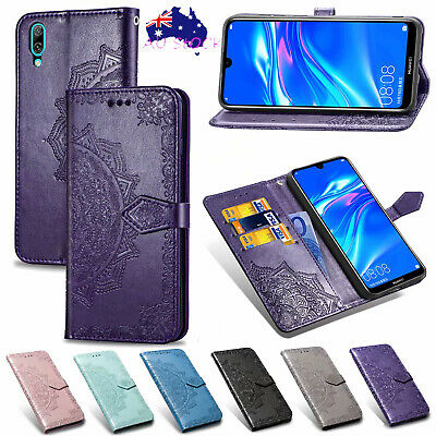 For Huawei Y7 Pro 2019 Luxury Mandala Wallet Case Leather Card Slot Flip Cover