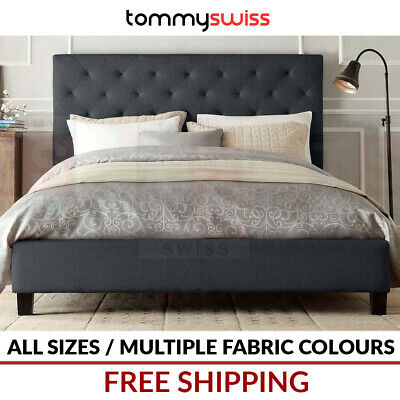 TOMMY SWISS: King, Queen, Double, King Single Fabric Bed Frame in Grey & Beige +