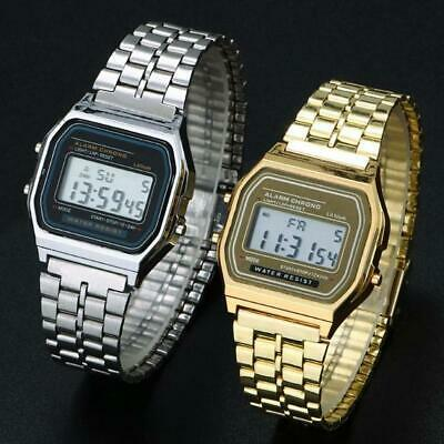 Men Stainless Steel Band LCD Digital Wrist Watch Sport Square Quartz INRI 01