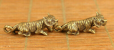 Asian old brass hand carving pair tiger statue figue netsuke pendant noble gift