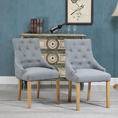 2Pcs Accent Dining Chairs Armchairs Fabric Upholstered Dining Room Kitchen Grey