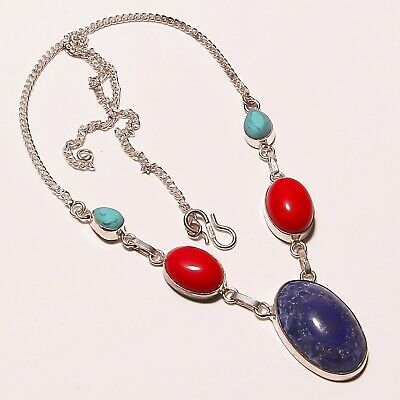 "Awesome ! Turquoise Lapis Lazuli Coral Silver Plated Handmade Necklace 17""-18"""