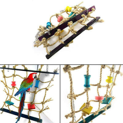 Pet Parrot Bird Climbing Net Cage Toy Swing Ladder Macaw Play Hanging R IVW