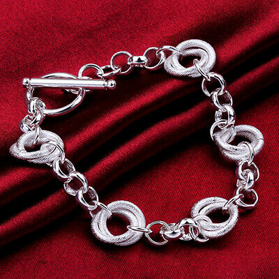 Women's Silver 925 Sterling Silver Bracelet Circle Chain Gift Bangle Jewelry