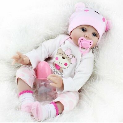 22'' reborn babies girl silicone baby doll realistic eyes open toddler toy cheap