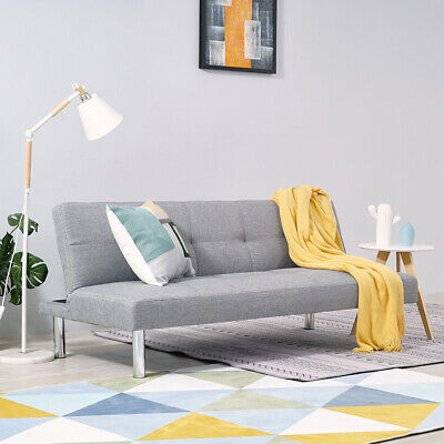 Linen Canterbury Fabric Sofa Bed 3 Seater Click-Clack Sofabed Settee Couch