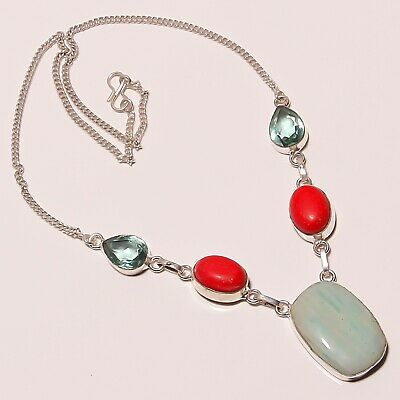 """Awesome Amazonite Coral London Topaz Silver Plated Handmade Necklace 17""""-18"""""""