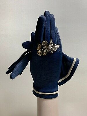 Vintage 1960s Dark Blue Stretch Fabric Dress Gloves White Strip Detail Size 7