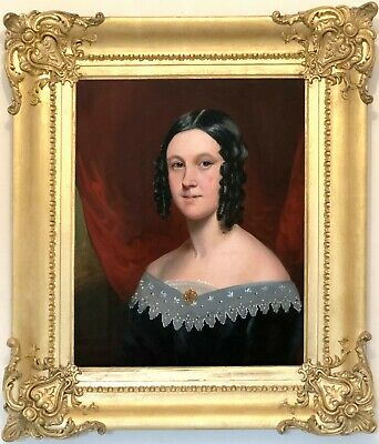 Portrait of a Young Lady Antique Oil Painting Early 19th Century English School