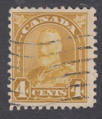 "Canada Scott #168  4 cent yellow bistre ""Leaf""   F"