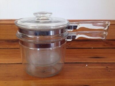 Vintage Pyrex Clear Glass Flameware Double Boiler USA Made 1.5 Qt