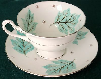 Shelley DRIFTING LEAVES Elegant Fine Bone China Cup & Saucer 1950s