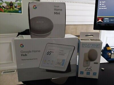 Google Home Hub with Google Assistant AND Google Home Mini w/mount GREAT COND.