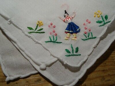 Vintage Small white Hand Embroidered Cotton Ladies Hanky Handkerchief