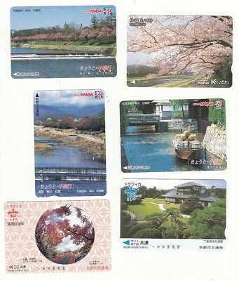 6 diff train ticket voucher cards from Japan NO VALUE!! trees