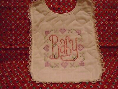 Baby Bib Embroidered & Satin Pillow With Lace Detail New Without Tags