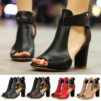 Womens High Block Heel Sandals Ladies Peep Toe Party Casual Ankle Strap Shoes UK