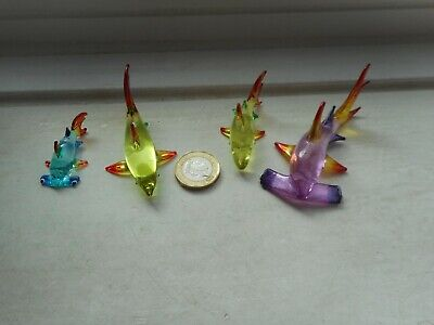 SHARKS 4 x BEAUTIFUL GLASS MINIATURES, NORMAL & HAMMERHEADS MULTI COLOURS- SET 2