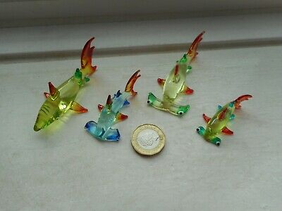 SHARKS 4 x BEAUTIFUL GLASS MINIATURES, NORMAL & HAMMERHEADS MULTI COLOURS- SET 3
