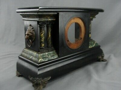 Antique Ingraham Black Faux Marble Mantle Shelf Clock Case Brass Fittings Adrian