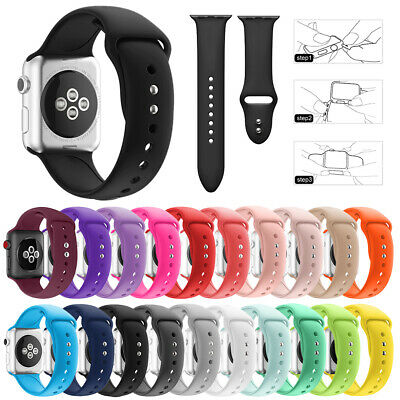 Replacement Silicone Sport Wrist Band For Apple Watch Series 4/3/2/1 42mm 38mm