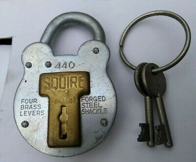 Squire 440 Old English 4 Brass Lever Galvanised Steel Padlock 50mm