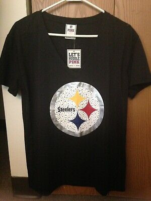 83750e313ff Victorias Secret PINK Pittsburgh Steelers Bling V Neck Size M Oversized Tee  NWT!