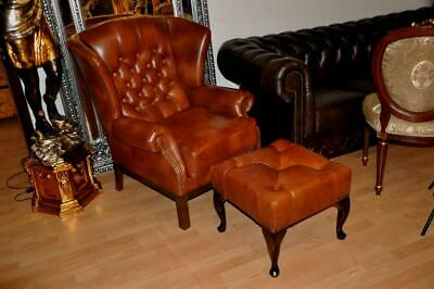 Chesterfield Ohrensessel Marian S Luxus Aniline Leder