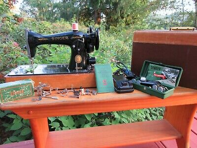 Beautiful Vintage 1955 Singer Model 15-91 Sewing Machine + Manual + Attachments