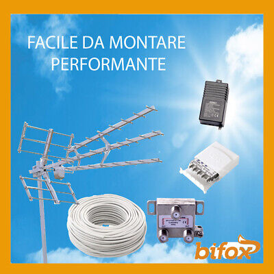Kit Completo Tv Digitale Terrestre Antenna Partitore Per 2 Tv Campagna Mare 45 E