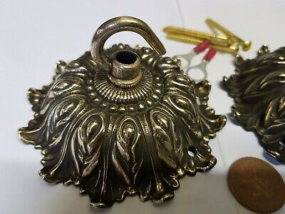 2x ANTIQUE CEILING ROSE 106mm French chandelier hook cast bronze c1920 brass C53