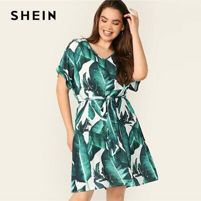6a72a0647ced7 SHEIN PLUS V-NECK Tropical Print Belted Dress XXL (US 16) - $15.93 ...